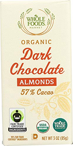 (Whole Foods Market, Organic Dark Chocolate Bar with Almonds (57% Cacao), 3)