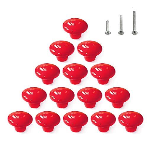 15PCS Red Glossy Ceramic Knobs Round Cabinet Dresser Pulls Door Handles Cupboard Wardrobe Drawer, Dia. 1.5 inch Ceramic Round Knob Cabinet Hardware