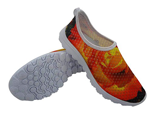 Floral B Pattern Shoes FOR Comfortable Women's DESIGNS Stylish Casual U Running Yellow Mesh Walking qwOcZXOIP