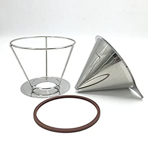 Portable Reusable Stainless Steel V-type Cup Cone Coffee Filters Drip Coffee Maker Tool