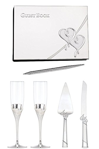 - Lenox True Love Champagne Glasses Set of 2 with 2-Piece Dessert Set & Guestbook