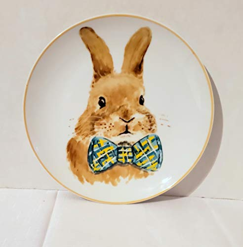 - New Pier One Bunny Rabbit with Teal Bow Tie Decorative Plate 8