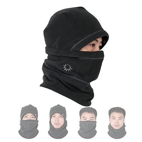 Leories Windproof Fleece Full Face Cap Hat Neck Warmer Face Mask Balaclava Ski Hat Black
