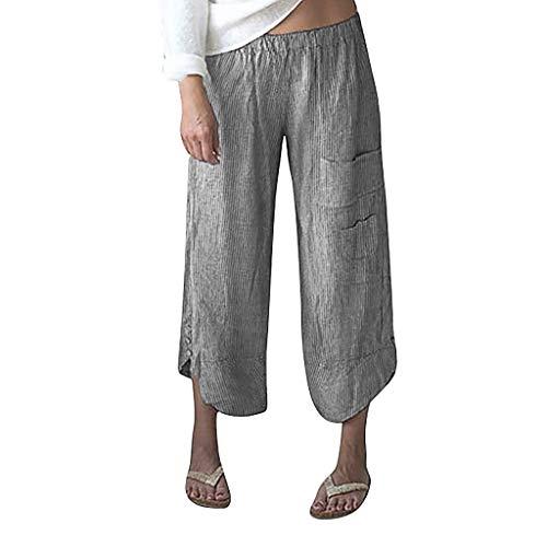 Plus Size Wide Leg Pants for Women,2019 New Linen Stripe High Waist Trousers Beach Pants (Asian Size:XXL, - Pants Metallic Linen