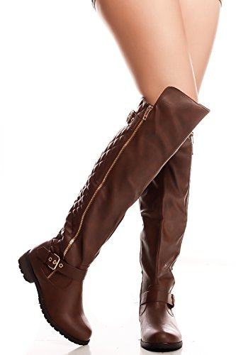 Forever Link FAUX SUEDE FOLDOVER WITH BUCKLE LONG BOOTS Brown-mango-41 ZSEAf