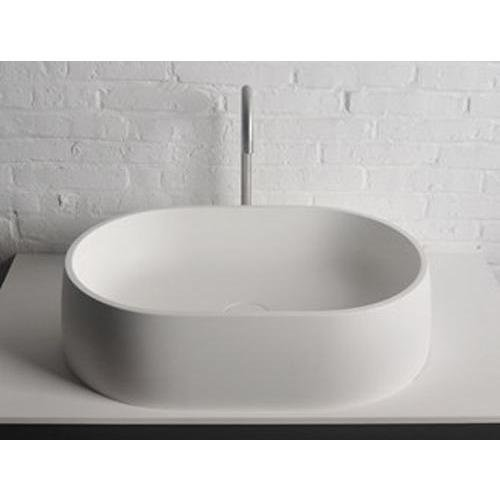ID Quod Elongated Solid Surface Vessel Sink Bowl Above Counter Sink Lavatory