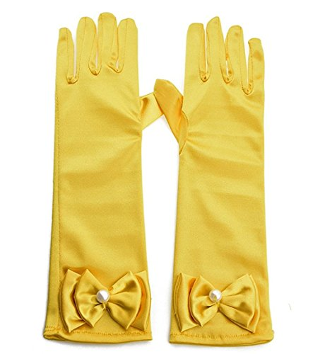 L-Yellow Kids Satin Bowknot Formal Gloves Girls Princess Costume Gloves for Bride Party Halloween Cosplay -