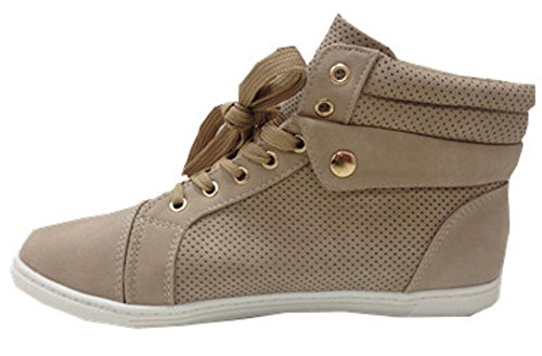 Donne Sneakers Scarpe Costellato Moda Beige Chiodo 61 Ch Aumento Fashionfolie HwqxE5gn