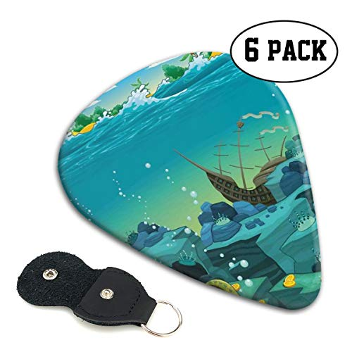 Guitar Picks 6 pcs,Seascape Underwater With Treasure Galleon And Sunk Ship Pirate Kids Print