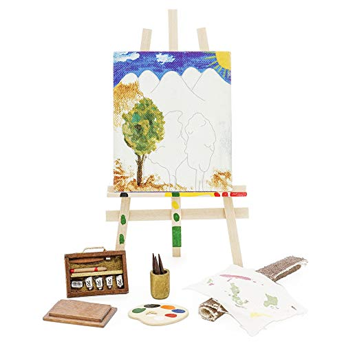 Miniature Art Accessories - Odoria 1:12 Miniature Easel Painting and Tools Set Pigment Brush Painting Dollhouse Decoration Accessories