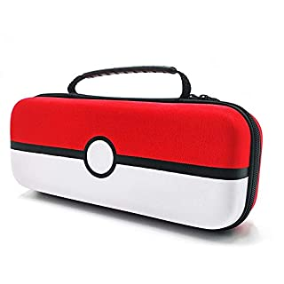 Nintendo Switch Case, Yullmu Portable Nintendo Pokémon Travel Case Protective Hard Bag with Clear Pokeball Case & Tempered Glass Screen Guard for Nintendo Console & Accessories (Red & White)