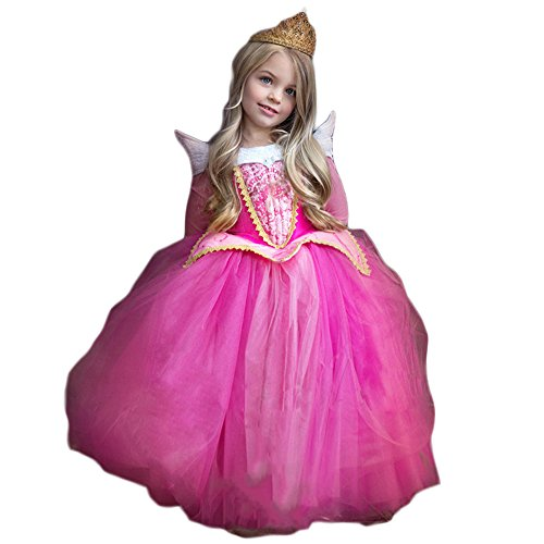 BTW.JP Sleeping Beauty Aurora Costume Girls Princess Dress Cospley With Tiara Set (120cm, Blue) (Princess Aurora Dress)