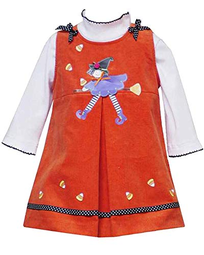 Baby Girls 3M-24M Orange Witch Applique Split-Front Corduroy Jumper Dress (24 Months, Orange)