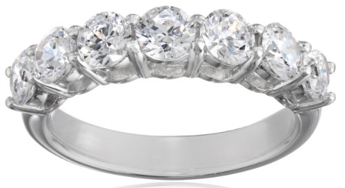 Lady Collection Elite - Platinum-Plated Sterling Silver 7-Stone Ring made with Swarovski Zirconia (2 cttw), Size 7