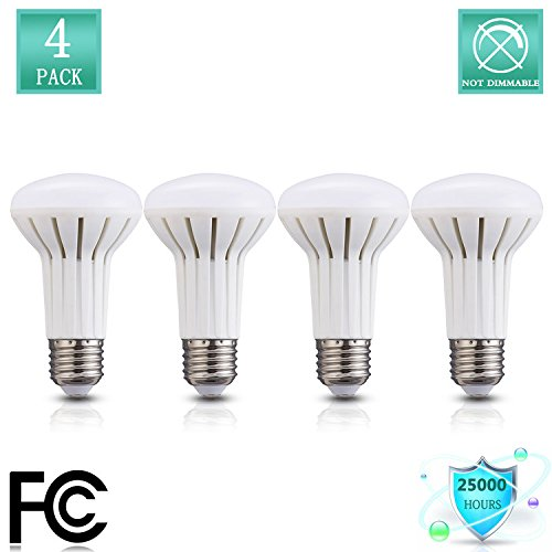 5W (45W Equivalent), BR20 LED Bulb Non-Dimmable,2700K Warm White glow, 500lumens,R20 Wide Flood Light Bulb, E26 Medium Base Great for Kitchen, Bathroom,Living Room, Outdoor Fixtures (4 Pack) ()