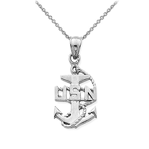 """US Navy 925 Sterling Silver Anchor Pendant Necklace, 18"""""""