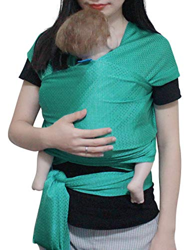 Vlokup Baby Wrap Sling Carrier for Newborn, Infant, Toddler, Kid   Breathable Lightweight Stretch Mesh Water Sling   Nice for Summer, Pool, Beach, Swimming   Perfect Shower Gift Green