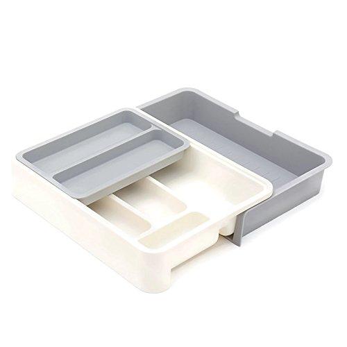 HornTide 3-in-1 Cassetto Cassetto Expandable Utensil Storage Organizer Portacenere in plastica per posate da ricevimento e più - Grigio