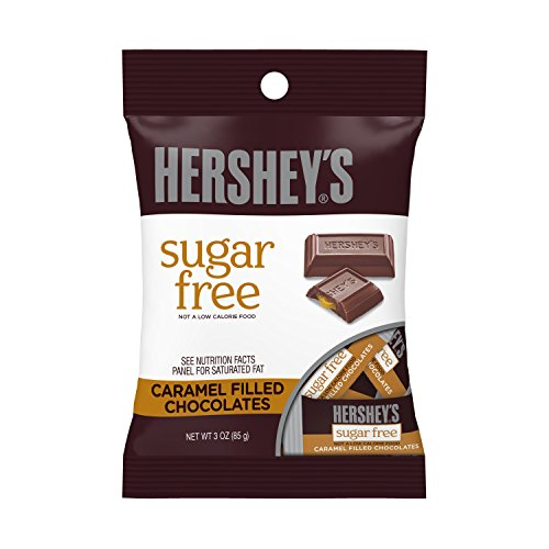 HERSHEY'S Sugar Free Chocolate Candy Bars, Caramel Filled, 3 Ounce (Pack of 12) -