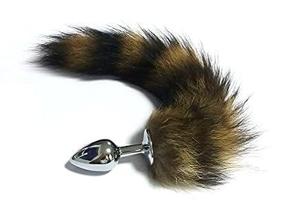 DACHUI 37cm de largo cola de zorro plug anal Butt plug de metal Tail sexo anal