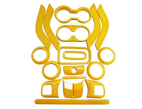 E-cowlboy 18 PCS Full Set Interior Decoration Trim Kit,Interior Door Handle Cover Trim,Air Conditioning Vent Cover Trim, Copilot Handle Cover Trim, for Jeep Wrangler JK JKU 2011-2018 4-Door(Yellow)