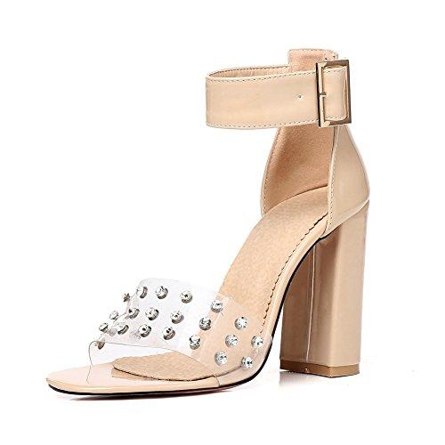 HN Shoes Bloque Tacón Alto Sandalias para Mujeres Albaricoque Peep Toe Remache Zapatos Correas de Tobillo PVC Transparente Fiesta Noche Tamaño 35-45, Apricot, 41 EU apricot