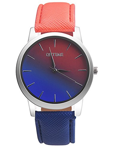 (Womens Quartz Watches,COOKI Rainbow Design Unique Analog Fashion Clearance Lady Watches Female Watches on Sale Casual Wrist Watches for Women,Round Dial Case Comfortable Faux Leather-H15 (Red))