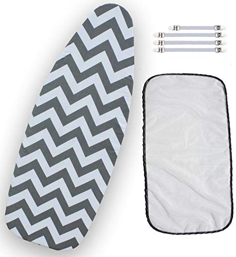 Balffor Wider Ironing Board Cover 6 Items: 1 Extra Thick Felt Pad, Heat Resistant, [18 x 49] Please Measure Your Board, 4 Fasteners and 1 Large Protective Scorch Mesh Cloth (White & Grey)