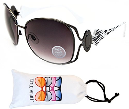 E29-vp Style Vault Luxury Thin Metal Sunglasses (N2807D Gunmetal/White Zebra-Smoked, clear)