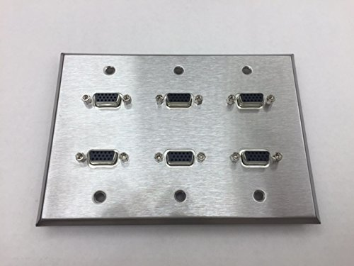 CERTICABLE CUSTOM STAINLESS STEEL TRIPLE GANG WALL PLATE 6- SVGA/VGA PORTS