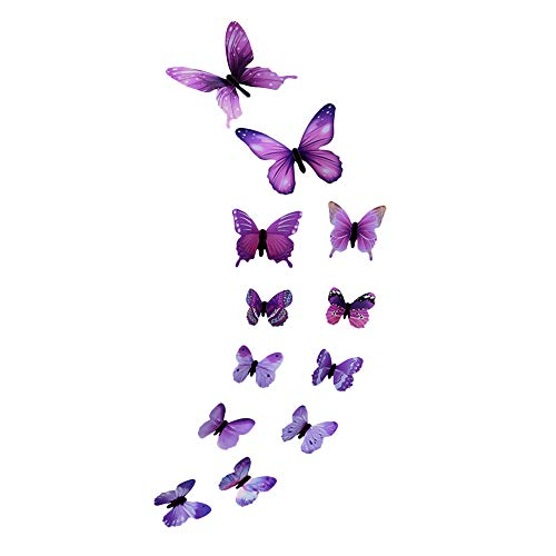 Wall Stickers - 12 pcs 3D Luminous Butterfly - DIY Family Stickers Background Art Wall Mural - for Home Nursery Kitchen Fridge Decor Decals (Purple)