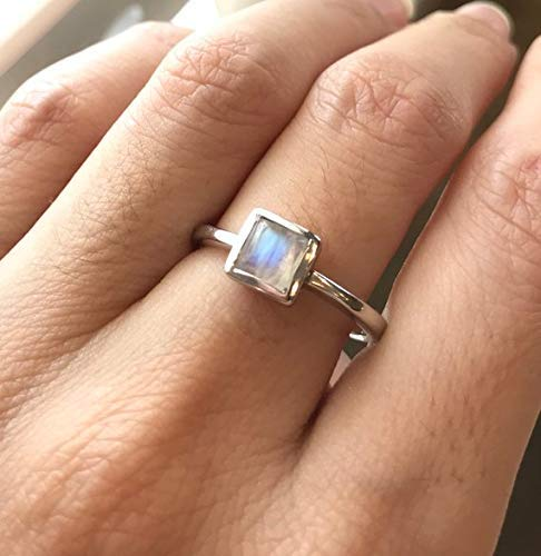 Small Square Moonstone Silver Ring Size 7