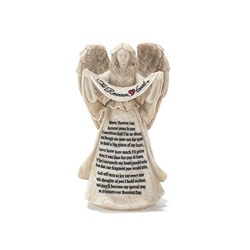 The Reunion Heart In Memory Resin Stone 6 inch Angel Figurine Resin Memory