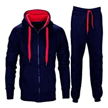 Mens Contrast String Fleece Hoodie Top Bottoms Joggers Gym Set Tracksuit