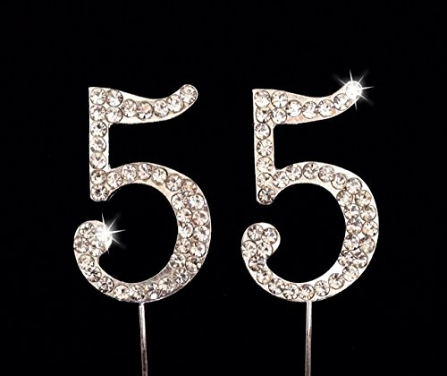 55th Birthday / Wedding Anniversary Number Cake Topper with Sparkling Rhinestone Crystals - 1.75