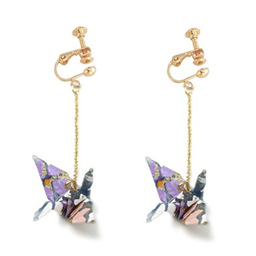 Screw Back Clip on Earring Clip for No Piercing Dangle Lucky Origami Paper Cranes Bird Purple