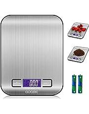 ADORIC digitale weegschaal, professionele elektronische weegschaal, keukenweegschaal met LCD-display, prachtige precisie tot 1 g (5 kg maximumgewicht) zilver