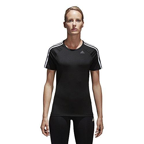 adidas Womens Training Designed 2 Move 3-Stripes Tee, Black, X-Large