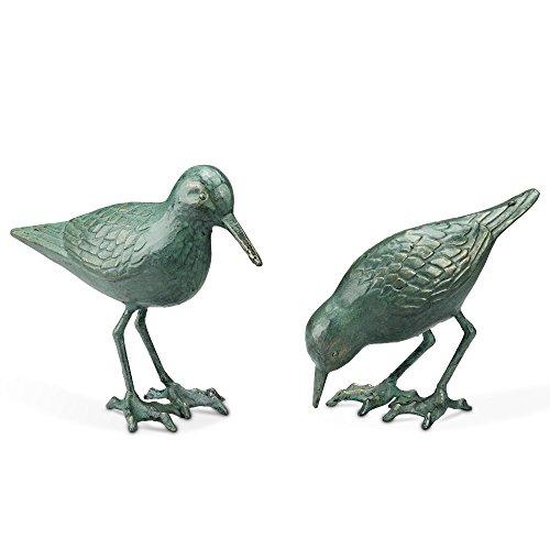 Iron Cast Figurine - Pair of Cast Iron Sandpiper Figurines in Verdi Finish by SPI-HOME