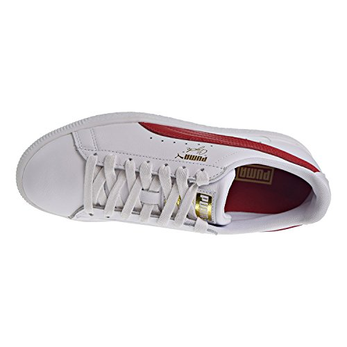 PUMA Women's Clyde Core L Foil White/Barbados Cherry Team Gold Athletic Shoe HWVWfo0fFC