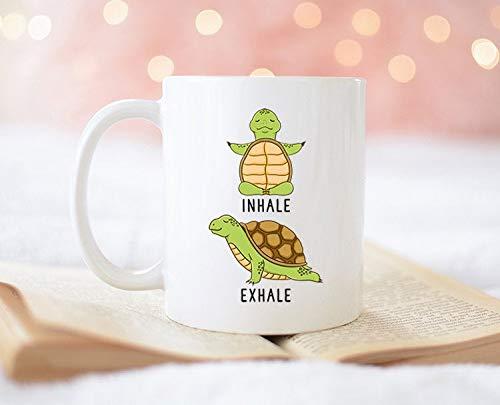 DKISEE Turtle Mug, Inhale Exhale Turtle Yoga Coffee Mug ...