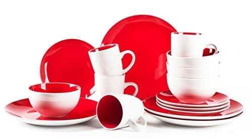HomeVss, Stoneware Coupe Shape 16pc Dinnerware Set, Outside White + Inside Red