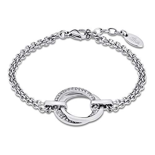 LOTUS LS1780/2/1 - Pulsera para mujer de acero inoxidable, color plateado, circonitas blancas, 21,5 cm a buen precio
