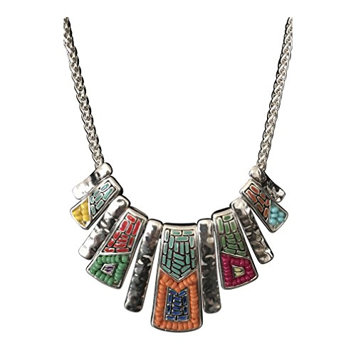 (Icon Collection Mosaic Design Tribal Native American Style Southwest Silver Turquoise Orange Seed Bead Bib Necklace )