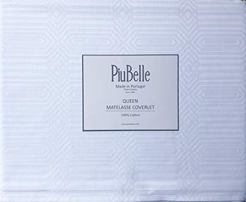 (PiuBelle Portugal Solid White Matelasse Coverlet Woven Textured Modern Geometric Diamond Stripes Pattern (Queen))