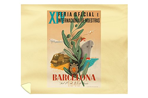 Spain - Barcelona - (artist: Bigorda c. 1946) - Vintage Advertisement (88x104 King Microfiber Duvet Cover) by Lantern Press