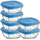Duralex Lys 10-Ounce Square Bowl with Lid, Set of 6