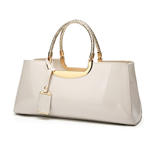 Glossy Faux Patent Leather Structured Shoulder Handbag Women Evening Party Satchel (Beige) (Black Leather Evening Bag)