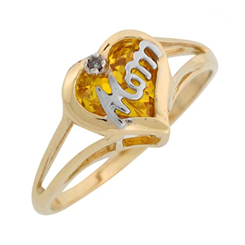 - 10k Two Tone Gold Diamond Simulated Pink Tourmaline Mom October Birthstone Ring