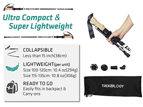 Trekology Trek-Z Trekking Hiking Poles 2pc Pack Collapsible Folding Walking Sticks Foldable Strong Lightweight Aluminum 7075,Adjustable Quick Flip-Lock